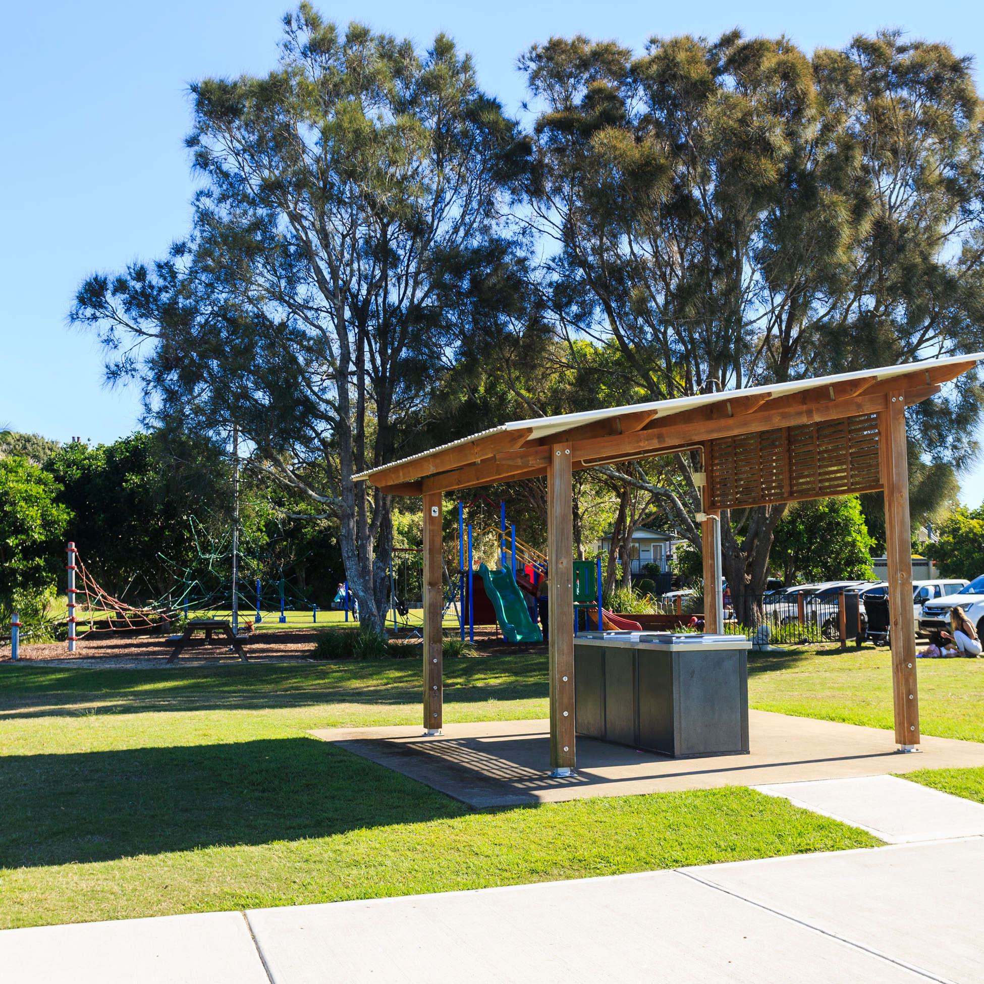 Image of the BBQ and childrens playground at Reflections Holiday Park Urunga