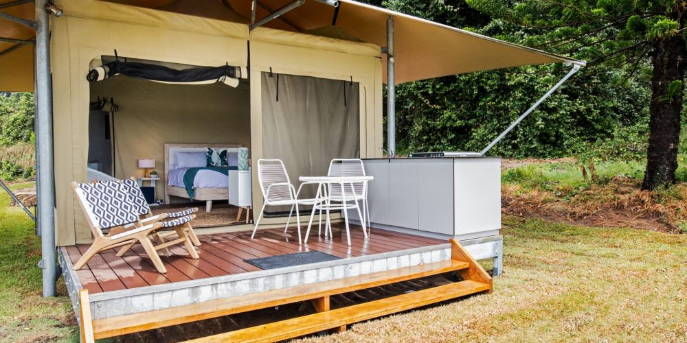 Beach Tent Accommodation at Reflections Holiday Parks Seal Rocks